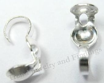 Bulk- Silver Crimp Bead Tips- Silver Plate Knots Cover -  terminators-  Silver Plate Findings -  Clamshell bead tips- Jewelry Making -TR008