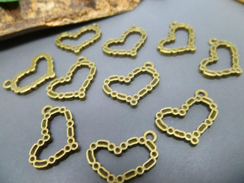 BULK  50 Bronze Heart Charms  Wedding Charms Lot MC0297 image 0