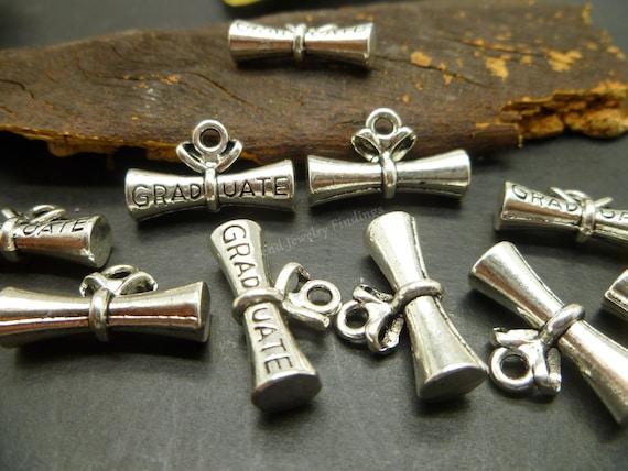 BULK 20 Graduate diploma charms antique silver tone PT34