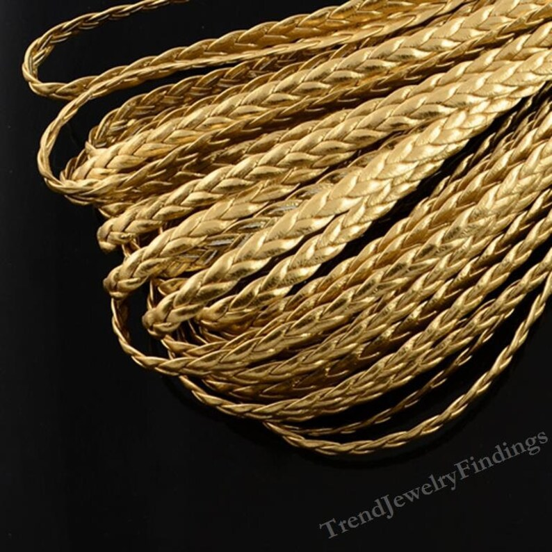 Gold Metallic Braided Cord  Faux Flat Leather cord  3 yards image 0