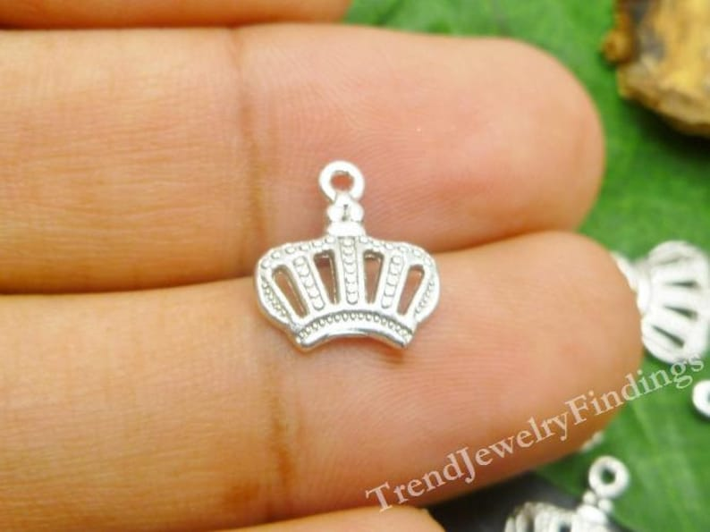 10 Princess Charms  Silver Tone Crown Charms  Antique Silver image 0