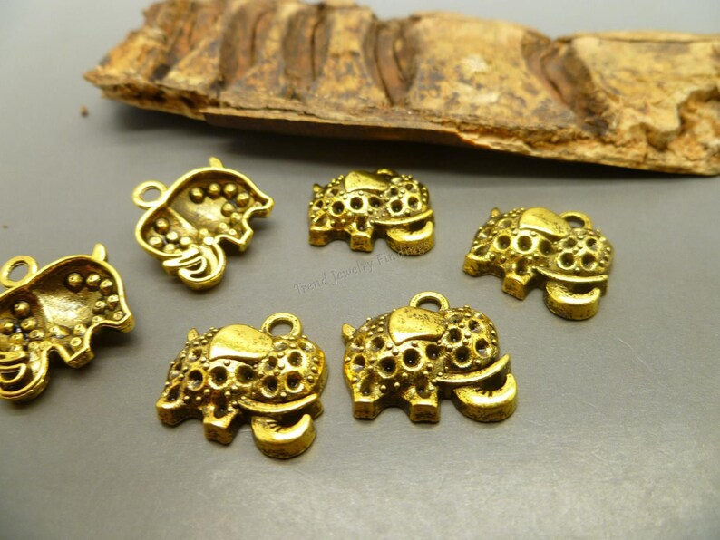 10 Gold Elephant Charms Antique Tibetan Gold Tone  Jewelry image 0