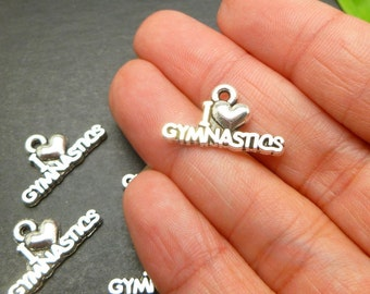 10 pc  I love Gymnastics Charms - Gymnasts Charms - Sports Charms - Antique Silver Tone Jewelry Making Supplies -MC0885