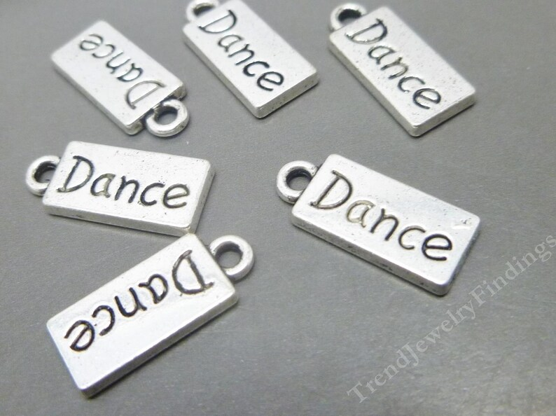 BULK 20 Dance Charms in Antique Tibetan Silver Tone  Ballet image 0