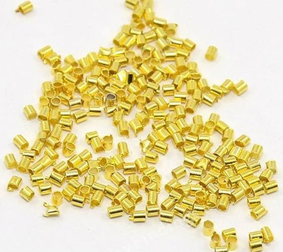 500 x GOLD PLATED 2mm TUBE CRIMP BEADS FINDINGS