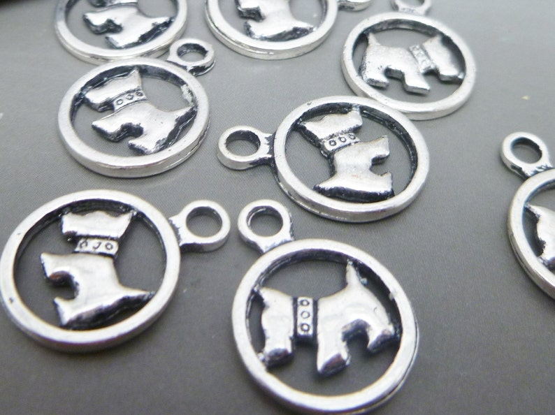 10 dog charms in antique tibetan Silver Tone  jewelry making image 0