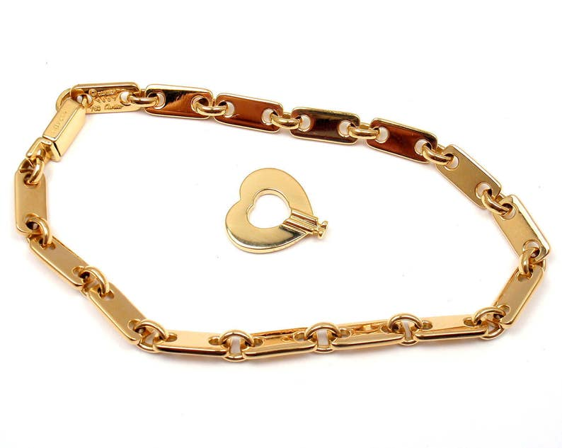e1895b8e34ba Cartier 18k Yellow Gold Fidelity Heart Key Bar Link Bracelet