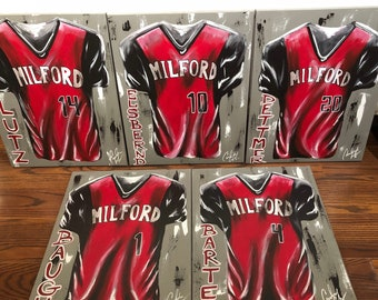 Personalized Sports Jersey Painting Senior Graduate Original Varsity College Team Gifts Baseball Football Softball Basketball Graduation