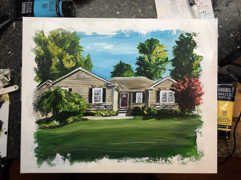 FREE SHIPPING House Warming gift custom home portrait hand painted from picture canvas personalized Realtor closing gift
