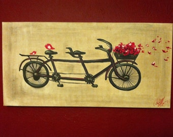 Free Shipping - large 18x36 Premium Gallery tandem bicycle painting with red birds red flowers