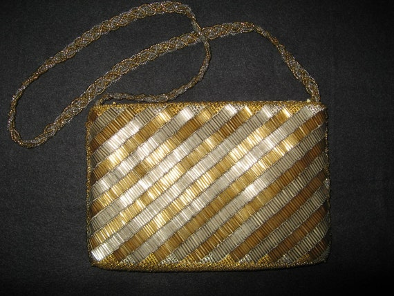 a2a8b90e5b0b Gold and silver beaded evening bag MAGID hand made in Hong