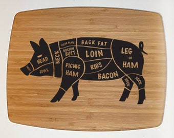Fathers Day BBQ Cutting Board Pig Bamboo Cutting board Bacon I like Pig Butts Gifts for Dad