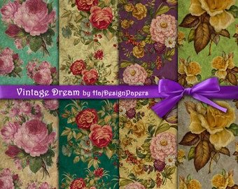 """Shabby chic digital paper : """"Vintage Dream"""" floral digital paper in vintage style with beautiful roses / decoupage paper / vintage papers"""