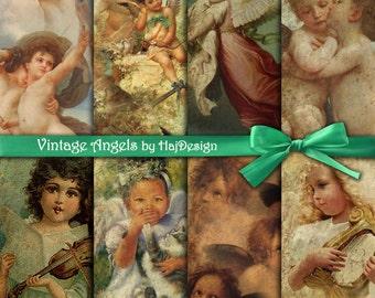 "Angels digital paper : ""VINTAGE ANGELS"" vintage digital paper with angels, Christmas digital paper, altered art, digital angels, decoupage"