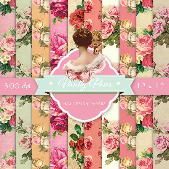 Roses paper pack digital floral papers vintage floral etsy image 0 mightylinksfo