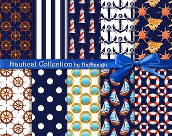 """Nautical digital paper : """"NAUTICAL COLLECTION""""  navy blue digital paper with nautical elements; anchor, boats, stripes, polkadot"""