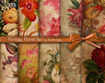 """Floral digital paper : """"VINTAGE FLORAL SET"""" vintage / old / rustic digital paper with flowers, old backgrounds, decoupage paper"""