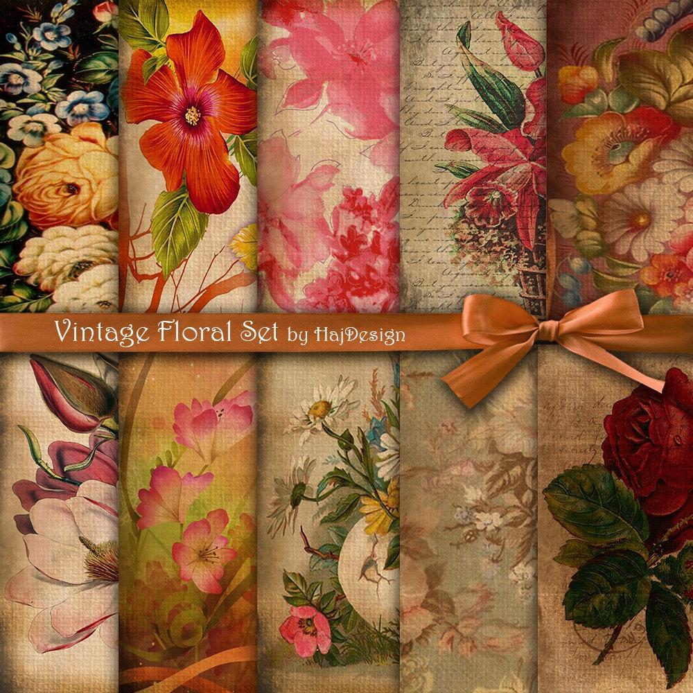 Floral Digital Paper : VINTAGE FLORAL SET Vintage