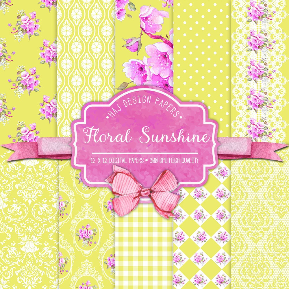 Yellow digital paper Floral Paper Pack pink and yellow | Etsy