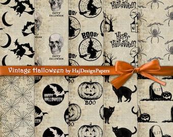 "Halloween digital paper : ""Vintage Halloween"" Halloween digital backgrounds for scrapbooking, decoupage, invites, cards, vintage paper"