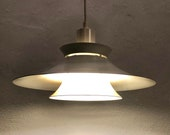 Vintage danish multilayer ceiling lamp with trumpet shades in off-white metal