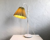 Danish vintage minimalist mid century table lamp in white painted metal with green pleated shade