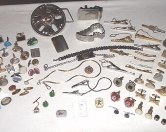 Vintage Men's Jewelry Lot. Estate sale. Over 60pcs. Tie pins, cufflinks, skull & crossbones spinner belt buckle, signed pcs., ++.    #378