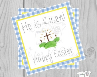 Easter Printable Tags, Instant Download, He is Risen Tags, Square Gift Tags, Teacher Tag, Easter Cross Tag, Treats, School Tag, Church