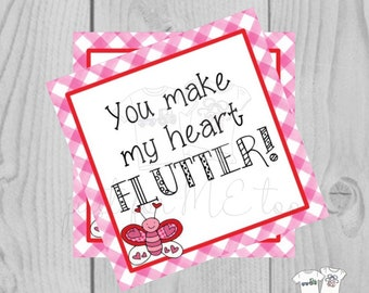 Valentine Printable Tags, Instant Download, Valentine's Day Tags, Square Gift Tags, Classroom Tag, Butterfly Valentine,, Friendship Tag