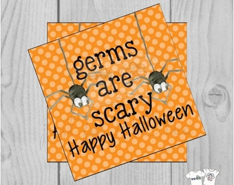 Halloween Printable Tags, Instant Download, Germs are Scary Tags, Square Gift Tags, Spider, Printables, Halloween, Boo Bucket