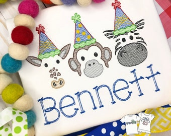 Personalized Zoo Animal Birthday Vintage Stitch Shirt- Vintage Stitch Zoo Shirt- Giraffe- Monkey- Zebra- Party Animal- Party Hat Animal