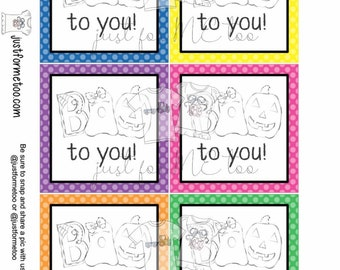 Halloween Printable Tags, Instant Download, Boo to you Tags, Square Gift Tags, Happy Halloween, Lunchbox, BOO Tag, Printable, Boo Bucket Tag