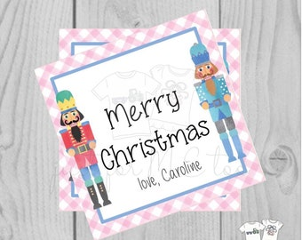 Personalized Christmas Printable Tags, Instant Download, Christmas Tags, Square Gift Tags, Merry Christmas, Nutcracker Tag, Ballet