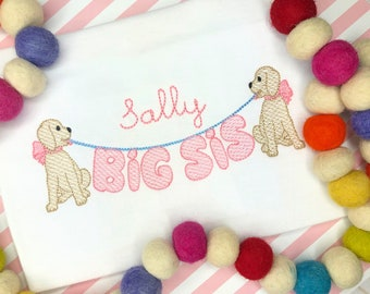 Personalized  Sibling shirt with Dog- Big Sister Shirt- Makes a great Gift- Vintage Stitch Sibling shirt- Balloon sister