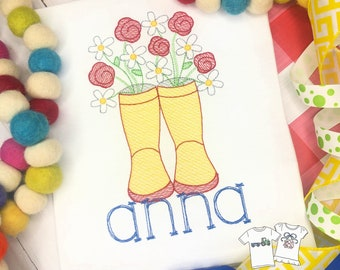 Personalized Spring Rain boots, Vintage stitch shirt, Boots, April showers bring..., boots and Flowers, girls, embroidered, Free Ship