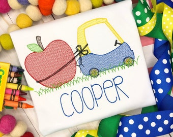 Personalized Apple Coupe Car Sketch Stitch Shirt, Embroidered, Boy Shirt, Girl Shirt, Apple, Back to School, Fruit Coupe, Free Shipping
