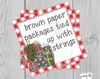 Christmas Printable Tags, Instant Download, Christmas Tags, Brown Paper Packages, Merry Christmas, Gift card, Gifts, Christmas gift