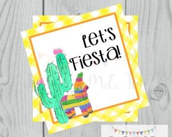 Instant Download Printable Taco Tags, Cinco De Mayo Tag, Let's Fiesta, Friend, Gift, Tag, Taco, Cinco De Mayo, Fiesta, Piñata, Cactus