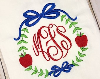 Personalized Back to School Stitch Embroidery Shirt, Monogram, Apple vintage shirt, 1st day of school, library, embroidered school fr