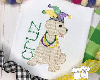 Personalized Mardi Gras Dog, Vintage Stitch Dog with Crown, Christmas Embroidery Shirt, Vintage Mardi GrasEmbroidery, Boys, Party, Jester