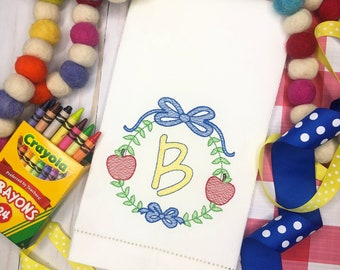 Monogram Embroidered Hand Towel, Decorative Towel, Kitchen Towel, Cotton Hand Towel, Bar Cart, Care Package, Back to School, Apple
