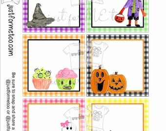 Halloween Printable Tags, Instant Download, Halloween Blank Tags, Square Gift Tags, Birthday, Lunchbox, Pumpkin, Printables, Halloween