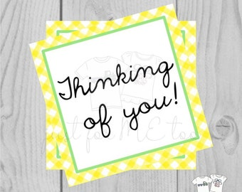 Printable Tags, Thinking of You, Instant Download, Friendship Tags, Teacher Tags, Lunchbox Note, Student Tag, Square Tags