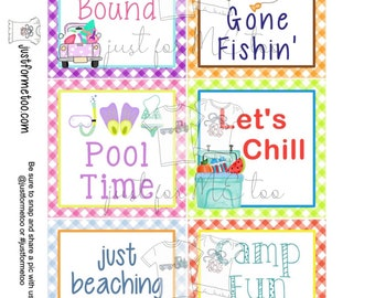 Printable Tags, Instant Download, Digital Download, Gift Tags, Summer Tags, Summer Treats, Camp, Beach, Fishing, Treats, Vacation