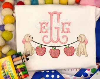 Personalized Back to School Sketch Stitch Embroidery Shirt, Monogram school shirt, vintage shirt, 1st day of school, school dog