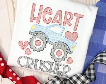 Monster Truck Valentine's Day Shirt, Heart Crusher Shirt, Vintage stitch, Sketch shirt, Valentine, Truck, Free Ship