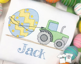 Personalized Boys Easter Egg Tractor Sketch Stitch Shirt, Embroidered, Boy Shirt, Easter Shirt, Easter Tractor pulling an Egg, Fred Shipping