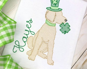 Personalized St Patrick's Day Sketch Stitch Shirt or Bodysuit, Embriodered, Applique, Boys Shirt, Girl Shirt, Doodle Dog, St Patricks Dog