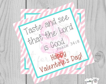 Valentine Printable Tags, Instant Download, Valentine's Day Tags, Square Gift Tags, Classroom Tag, Psalm 34:8 Tag, Valentine, Cotton Candy