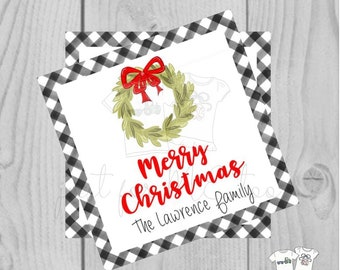 Personalized Christmas Gift Tag, Personalized Tag, Wreath with Bow Gift Tag, Christmas Tag, Personalize, Merry Christmas